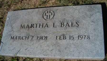 BALS, MARTHA L - Dodge County, Nebraska | MARTHA L BALS - Nebraska Gravestone Photos