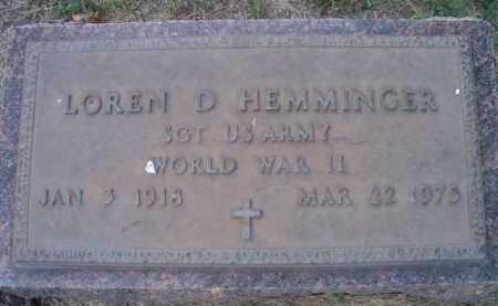 HEMMINGER, LOREN D. - Dodge County, Nebraska | LOREN D. HEMMINGER - Nebraska Gravestone Photos