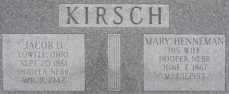 HENNEMAN KIRSCH, MARY - Dodge County, Nebraska | MARY HENNEMAN KIRSCH - Nebraska Gravestone Photos