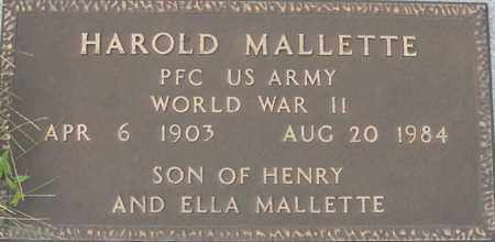 MALLETTE, HAROLD - Dodge County, Nebraska | HAROLD MALLETTE - Nebraska Gravestone Photos
