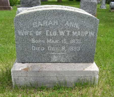 MAUPIN, SARAH ANN - Dodge County, Nebraska   SARAH ANN MAUPIN - Nebraska Gravestone Photos