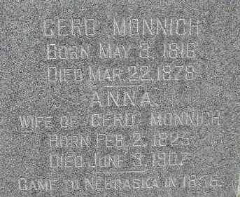 MONNICH, ANNA - Dodge County, Nebraska | ANNA MONNICH - Nebraska Gravestone Photos