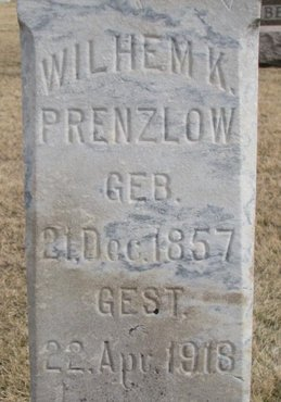 PRENZLOW, WILHELM K. (CLOSE UP) - Dodge County, Nebraska | WILHELM K. (CLOSE UP) PRENZLOW - Nebraska Gravestone Photos