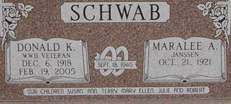 SCHWAB, DONALD - Dodge County, Nebraska | DONALD SCHWAB - Nebraska Gravestone Photos