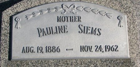 SIEMS, PAULINE - Dodge County, Nebraska | PAULINE SIEMS - Nebraska Gravestone Photos