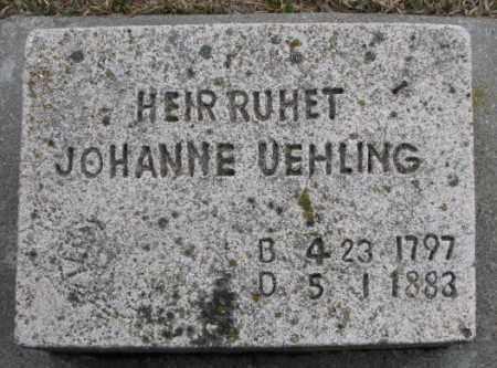 UEHLING, JOHANNE - Dodge County, Nebraska | JOHANNE UEHLING - Nebraska Gravestone Photos