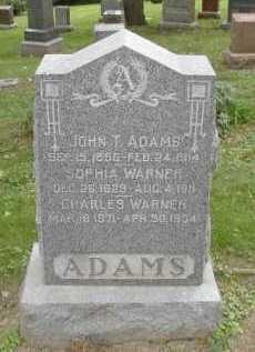 ADAMS, JOHN T. - Douglas County, Nebraska | JOHN T. ADAMS - Nebraska Gravestone Photos