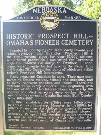 *PROSPECT HILL, HISTORIC MARKER - Douglas County, Nebraska | HISTORIC MARKER *PROSPECT HILL - Nebraska Gravestone Photos