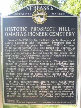 *PROSPECT HILL, HISTORIC MARKER - Douglas County, Nebraska   HISTORIC MARKER *PROSPECT HILL - Nebraska Gravestone Photos