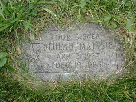 MALTBIE, BEULAH - Douglas County, Nebraska | BEULAH MALTBIE - Nebraska Gravestone Photos