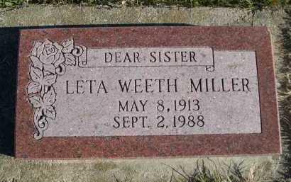WEETH MILLER, LETA - Douglas County, Nebraska | LETA WEETH MILLER - Nebraska Gravestone Photos