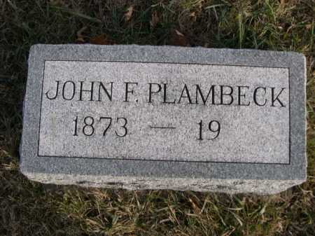 PLAMBECK, JOHN F. - Douglas County, Nebraska | JOHN F. PLAMBECK - Nebraska Gravestone Photos