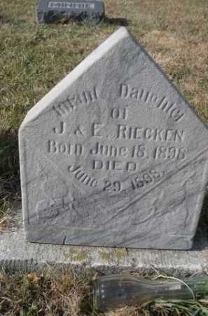 RIECKEN, INFANT DAUGHTER OF J. & E. - Douglas County, Nebraska | INFANT DAUGHTER OF J. & E. RIECKEN - Nebraska Gravestone Photos