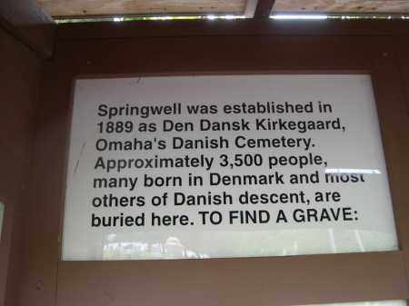 *SPRINGWELL DANISH CEMETERY, INFORMATION SIGN - Douglas County, Nebraska   INFORMATION SIGN *SPRINGWELL DANISH CEMETERY - Nebraska Gravestone Photos