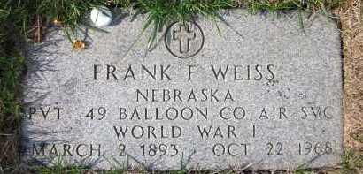 WEISS, FRANK F. - Douglas County, Nebraska | FRANK F. WEISS - Nebraska Gravestone Photos
