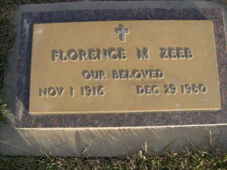 ZEEB, FLORENCE M. - Douglas County, Nebraska | FLORENCE M. ZEEB - Nebraska Gravestone Photos