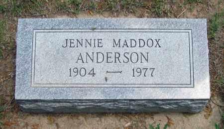 ANDERSON, JENNIE MADDOX - Dundy County, Nebraska | JENNIE MADDOX ANDERSON - Nebraska Gravestone Photos