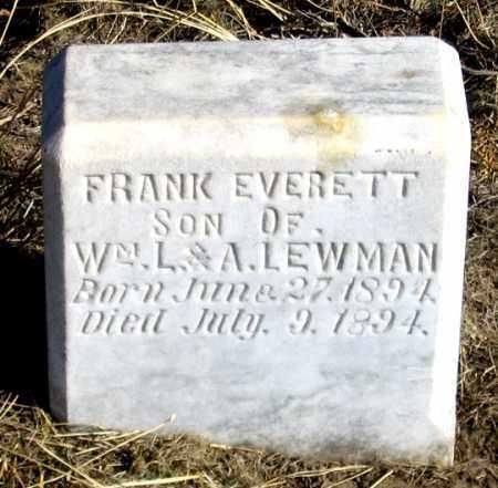LEWMAN, FRANK EVERETT - Dundy County, Nebraska | FRANK EVERETT LEWMAN - Nebraska Gravestone Photos