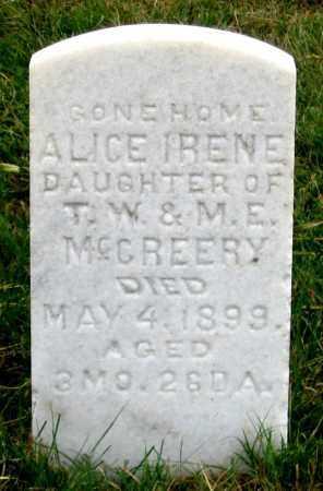 MCCREERY, ALICE IRENE - Dundy County, Nebraska | ALICE IRENE MCCREERY - Nebraska Gravestone Photos