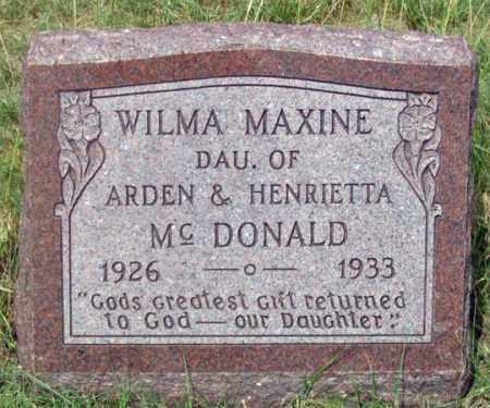 MCDONALD, WILMA MAXINE (MARJORIE?) - Dundy County, Nebraska   WILMA MAXINE (MARJORIE?) MCDONALD - Nebraska Gravestone Photos