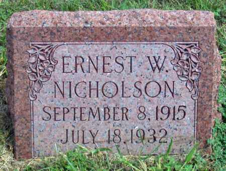 NICHOLSON (MILLER), ERNEST W. - Dundy County, Nebraska | ERNEST W. NICHOLSON (MILLER) - Nebraska Gravestone Photos
