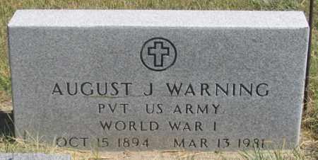 WARNING, AUGUST J. - Dundy County, Nebraska | AUGUST J. WARNING - Nebraska Gravestone Photos