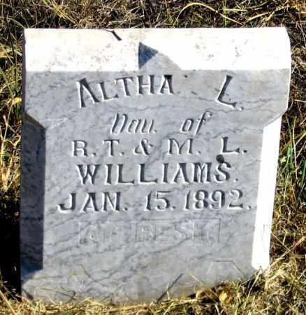 WILLIAMS, ALTHA L. - Dundy County, Nebraska | ALTHA L. WILLIAMS - Nebraska Gravestone Photos