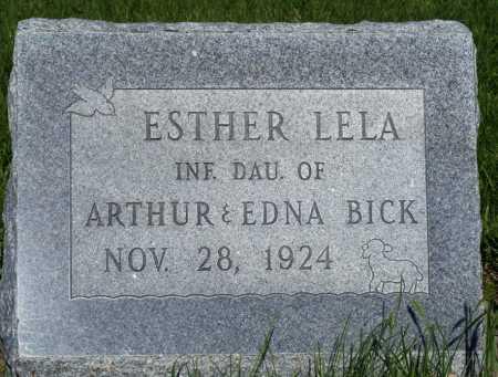 BICK, ESTHER LELA - Frontier County, Nebraska | ESTHER LELA BICK - Nebraska Gravestone Photos