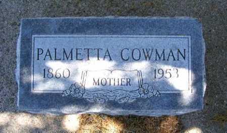 COWMAN, PALMETTA - Frontier County, Nebraska | PALMETTA COWMAN - Nebraska Gravestone Photos