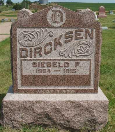 DIRCKSEN, SIEBELD F. - Frontier County, Nebraska | SIEBELD F. DIRCKSEN - Nebraska Gravestone Photos