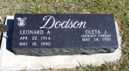 DODSON, LEONARD A. - Frontier County, Nebraska | LEONARD A. DODSON - Nebraska Gravestone Photos