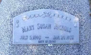 NICHOLS, MARY SUSAN - Frontier County, Nebraska | MARY SUSAN NICHOLS - Nebraska Gravestone Photos