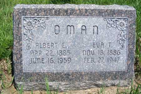 OMAN, ALBERT E. - Frontier County, Nebraska   ALBERT E. OMAN - Nebraska Gravestone Photos
