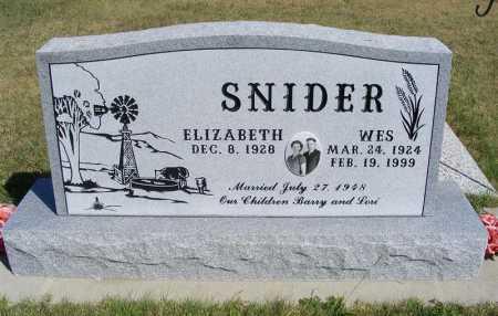 SNIDER, ELIZABETH - Frontier County, Nebraska | ELIZABETH SNIDER - Nebraska Gravestone Photos