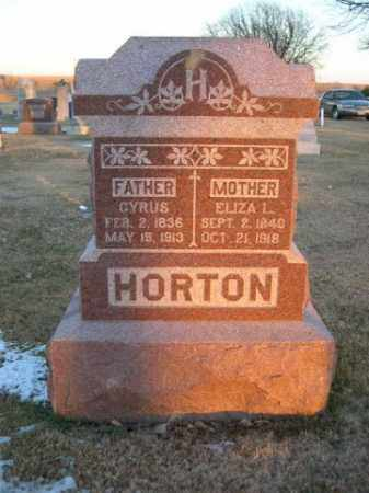 HORTON, ELIZA L. - Furnas County, Nebraska   ELIZA L. HORTON - Nebraska Gravestone Photos