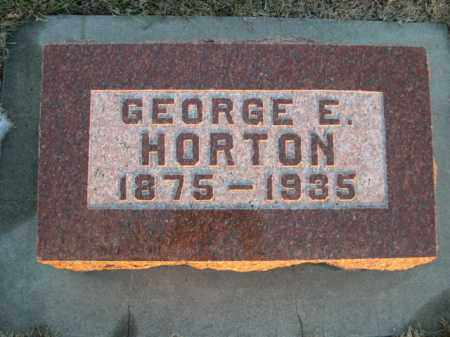 HORTON, GEORGE E. - Furnas County, Nebraska | GEORGE E. HORTON - Nebraska Gravestone Photos