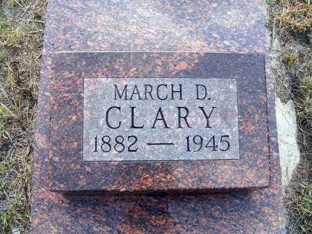 CLARY, MARCH D. - Garden County, Nebraska | MARCH D. CLARY - Nebraska Gravestone Photos