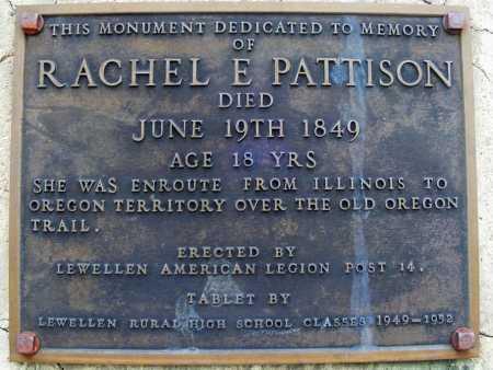 PATTISON MEMORIAL PLAQUE, RACHEL E. - Garden County, Nebraska   RACHEL E. PATTISON MEMORIAL PLAQUE - Nebraska Gravestone Photos