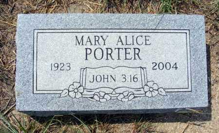 PORTER, MARY ALICE - Garden County, Nebraska | MARY ALICE PORTER - Nebraska Gravestone Photos