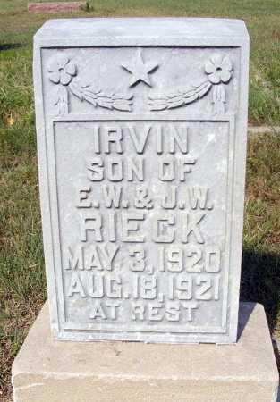 RIECK, IRVIN - Garden County, Nebraska | IRVIN RIECK - Nebraska Gravestone Photos