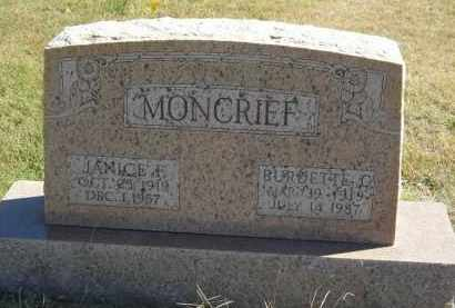 MONCRIEF, JANIC E F - Gosper County, Nebraska | JANIC E F MONCRIEF - Nebraska Gravestone Photos