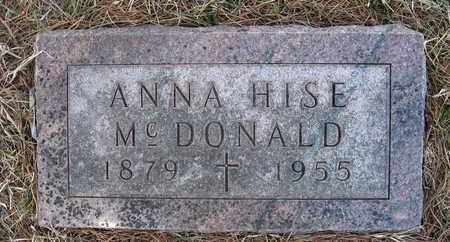 HISE MCDONALD, ANNA - Holt County, Nebraska   ANNA HISE MCDONALD - Nebraska Gravestone Photos