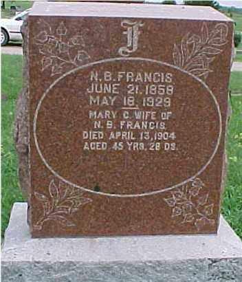 FRANCIS, MARY CATHERINE - Johnson County, Nebraska | MARY CATHERINE FRANCIS - Nebraska Gravestone Photos