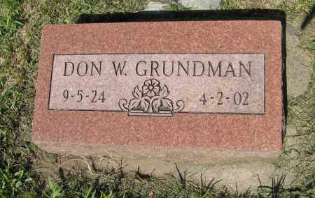 GRUNDMAN, DON W. - Johnson County, Nebraska | DON W. GRUNDMAN - Nebraska Gravestone Photos