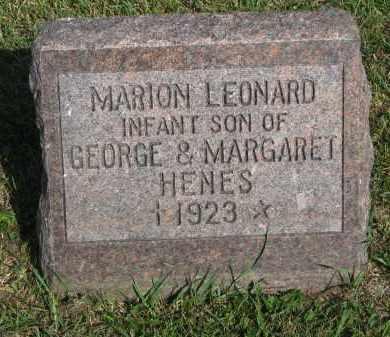 HENES, MARION LEONARD - Knox County, Nebraska | MARION LEONARD HENES - Nebraska Gravestone Photos