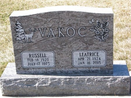 PAVLIK VAKOC, LEATRICE ANNE - Knox County, Nebraska | LEATRICE ANNE PAVLIK VAKOC - Nebraska Gravestone Photos