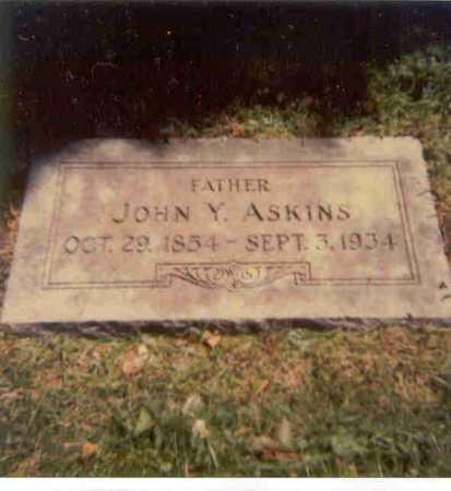 ASKINS, JOHN Y. - Lancaster County, Nebraska   JOHN Y. ASKINS - Nebraska Gravestone Photos