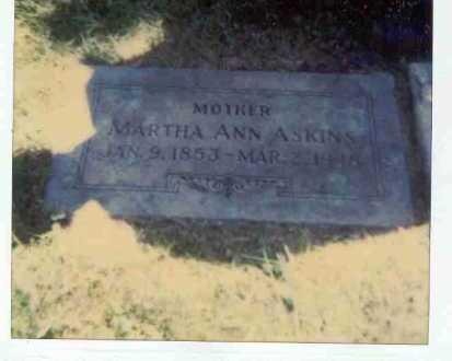 ASKINS, MARTHA ANN - Lancaster County, Nebraska | MARTHA ANN ASKINS - Nebraska Gravestone Photos