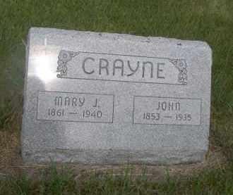CRAYNE, MARY J. - McPherson County, Nebraska | MARY J. CRAYNE - Nebraska Gravestone Photos