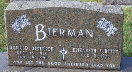 BIERMAN, DONALD DITTRICK - Madison County, Nebraska   DONALD DITTRICK BIERMAN - Nebraska Gravestone Photos